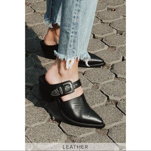 NIB Sbicca Black Leather Pointed-Toe Mules